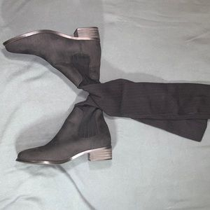 Black long boots (suede)